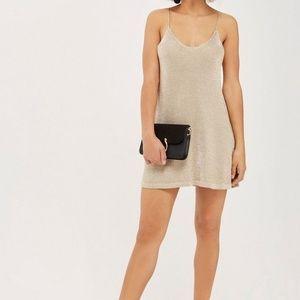 Topshop Petite gold knit camisole dress 10